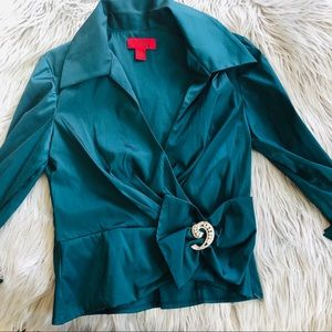 ✨ JS COLLECTIONS teal formal blouse
